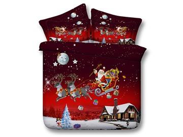 Santa Claus Reindeer 3D Christmas 4Pcs Cotton Bedding Set/Duvet Covers Set With Zipper Ties