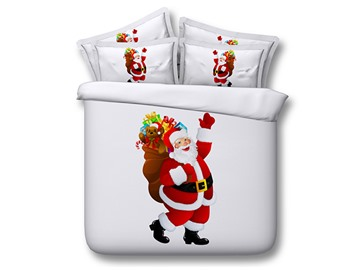 Santa Claus in Red Suit Printed 4-Piece 3D White Bedding Sets/Duvet Covers
