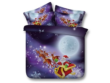 Festal Santa and Sleigh Printed Cotton 4-Piece 3D Bedding Sets/Duvet Covers