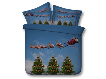 Charming Santa and Christmas Tree Print 4-Piece Duvet Cover Sets