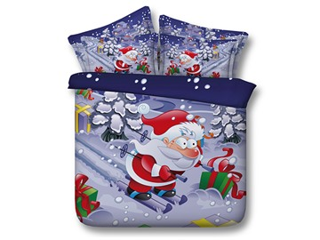 Christmas Santa Claus on Skis Printed Cotton 3D 4-Piece Bedding Sets/Duvet Covers