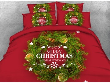 Christmas Wreath Printed Cotton 4-Piece 3D Red Bedding Sets/Duvet Covers