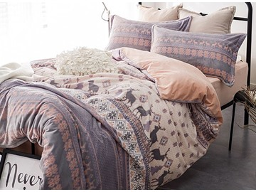 Fancy Reindeer Printed 4-Piece Flannel Duvet Cover Sets