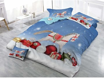 Hobby Horse and Christmas Gift Wear-resistant Breathable High Quality 60s Cotton 4-Piece 3D Bedding Sets