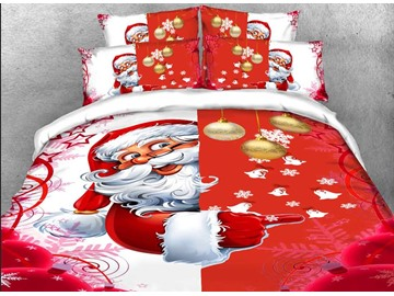 Santa Christmas Decorations 3D 4Pcs Red Zipper Bedding Warm Duvet Cover Set