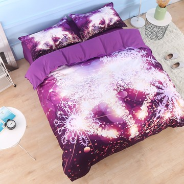 Golden Reindeer and Snowflake Printed Cotton 3D 4-Piece Bedding Sets/Duvet Covers