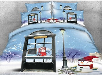 3D Christmas Snowman and Telephone Booth Printed Cotton 4-Piece Bedding Sets/Duvet Covers