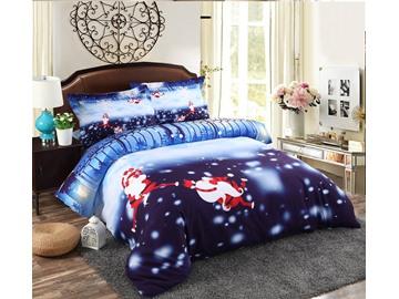 Vivilinen Monkey Santa and Snowflake Printed Cotton 4-Piece 3D Bedding Sets/Duvet Covers