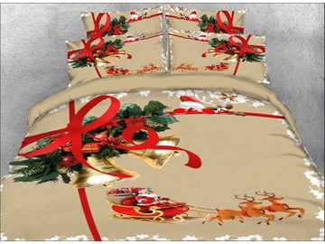 Christmas Bell and Santa Claus Printed 3D 4-Piece Bedding Sets/Duvet Covers