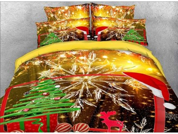 3D Christmas Gift and Snowflake Printed Cotton 4-Piece Bedding Sets/Duvet Covers