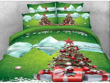 3D Christmas Tree and Bowknot Printed Cotton 4-Piece Green Bedding Sets/Duvet Covers