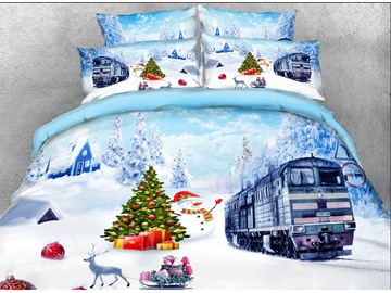 Christmas Snowman and Train Printed Cotton 3D 4-Piece Bedding Sets/Duvet Covers Colorfast Wear-resistant Endurable Skin-friendly All-Season Ultra-soft Microfiber No-fading