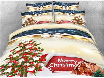 3D Christmas Tree and Cottage Printed Cotton 4-Piece Bedding Sets/Duvet Covers