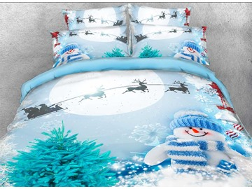 Onlwe 3D Santa and Sleigh Snowman Printed Cotton 4-Piece Bedding Sets/Duvet Covers