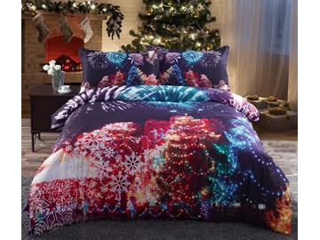 Vivilinen Christmas Trees and Fireworks Printed Cotton 4-Piece 3D Bedding Sets/Duvet Covers
