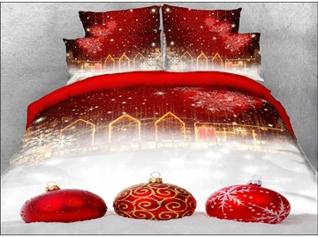 Red Christmas Ball Ornaments 3D Printed 4-Piece Polyester Bedding Sets/Duvet Covers