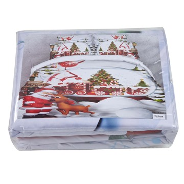 3D Santa Claus and Christmas Reindeer Printed Cotton 4-Piece Bedding Sets/Duvet Covers