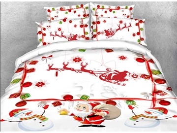 Santa Claus and Snowman 3D 4Pcs White Bedding Duvet Cover Set with Zipper Ties
