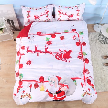 Santa Claus and Snowman 3D 4Pcs White Bedding Duvet Cover Set with Zipper Ties Polyester