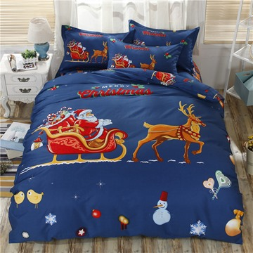 Santa Claus Riding Sledge and Deer Cotton 4-Piece Christmas Bedding Sets/Duvet Cover