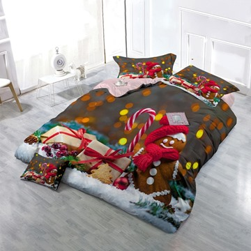 Christmas Gingerbread Man Wear-resistant Breathable High Quality 60s Cotton 4-Piece 3D Bedding Sets