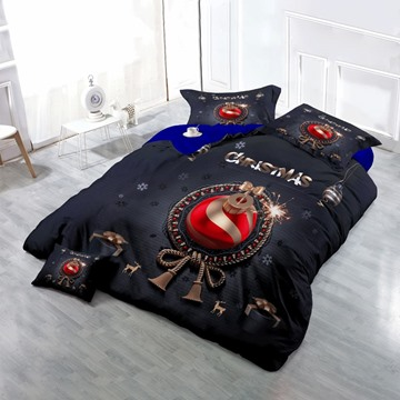 3D Christmas Ornament Ball Printed Cotton 4-Piece Bedding Sets/Duvet Covers