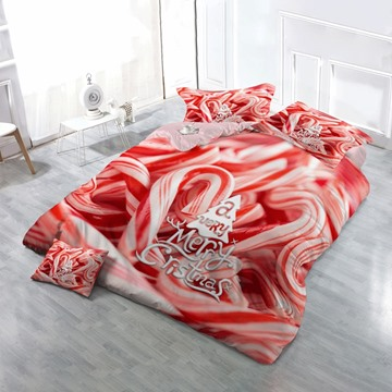 Christmas Candy Cane Wear-resistant Breathable High Quality 60s Cotton 4-Piece 3D Bedding Sets