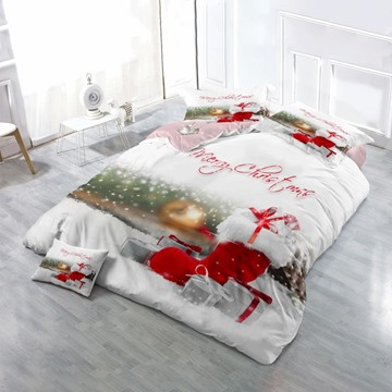 Red Christmas Socks and Christmas Presents Wear-resistant Breathable High Quality 60s Cotton 4-Piece 3D Bedding Sets