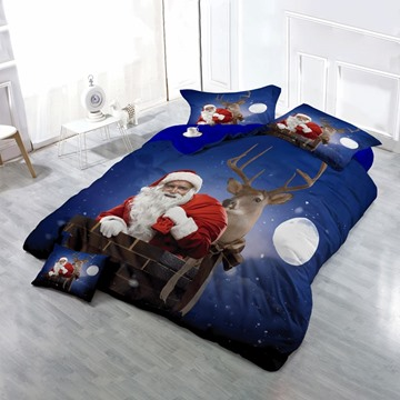 Santa Claus and Reindeer Christmas Night Wear-resistant Breathable High Quality 60s Cotton 4-Piece 3D Bedding Sets