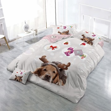 Christmas Sleepy Dog Wear-resistant Breathable High Quality 60s Cotton 4-Piece 3D Bedding Sets