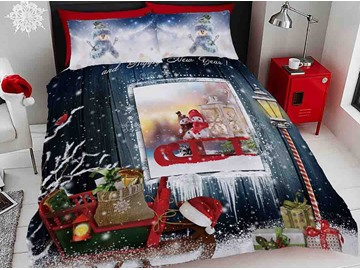 3D Snowman and Christmas Ornaments Digital Printing Cotton 4-Piece Bedding Sets/Duvet Covers