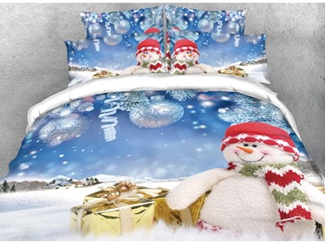 3D Snowman and Christmas Gifts Silvery Digital Printing Cotton 4-Piece Bedding Sets/Duvet Covers