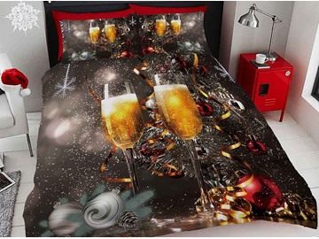 3D Champagne and Ribbon Celebrate Christmas Digital Printing Cotton 4-Piece Bedding Sets/Duvet Covers