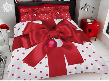 Red Christmas Gift Bow Digital Printing Cotton 3D 4Pcs Bedding Set with Zipper Ties
