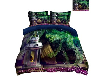 Christmas Tree and Light Printing Polyester 4-Piece 3D Bedding Sets/Duvet Covers