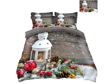 Christmas Ornaments and Snow Printing Polyester 4-Piece 3D Bedding Sets/Duvet Covers