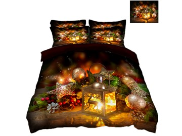 Reindeer and Christmas Decorations Printing Polyester 4-Piece 3D Bedding Sets/Duvet Covers