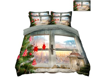 Christmas Tree and Snow Scenery Printing Polyester 4-Piece 3D Bedding Sets/Duvet Covers
