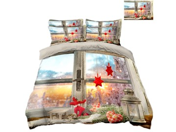 Window Scenery and Ornaments Printing Polyester 4-Piece 3D Christmas Bedding Sets/Duvet Covers