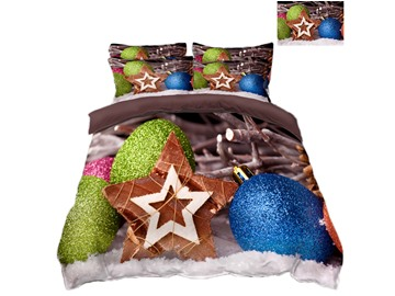Five-pointed Star and Ornaments Printing Polyester 4-Piece 3D Christmas Bedding Sets/Duvet Covers