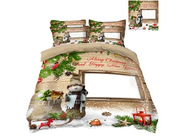 Merry Christmas and Snowman Printing 4-Piece 3D Bedding Sets/Duvet Covers