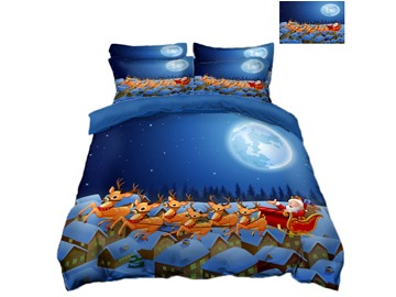 Reindeer Pull Santa's Sleigh Across the House Printing 4-Piece 3D Bedding Sets/Duvet Covers