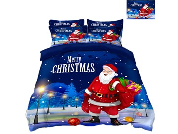 Santa Claus Carrying Presents Printing Polyester 4-Piece 3D Bedding Sets/Duvet Covers