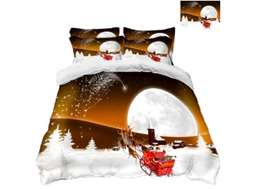 Reindeer Pull Santa's Sleigh on the Snow Printing Polyester 4-Piece 3D Bedding Sets/Duvet Covers