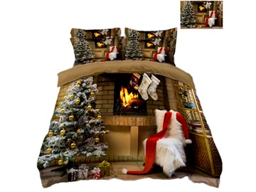 Christmas Tree and Stockings Printing Polyester 4-Piece 3D Bedding Sets/Duvet Covers