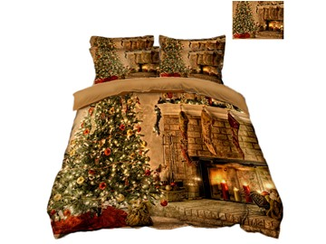 Christmas Tree and Colored Lights Printing 3D Polyester 4-Piece Bedding Sets/Duvet Covers