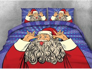 Santa Claus Makes a Face Printing 4-Piece 3D Bedding Sets/Duvet Covers