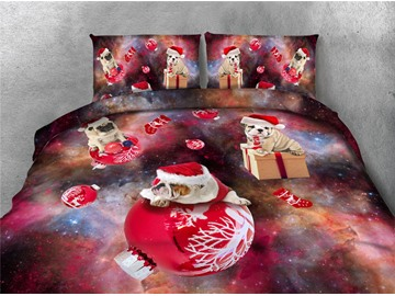 Dogs Wearing Christmas Hat and Galaxy Printing 4-Piece 3D Bedding Sets/Duvet Covers
