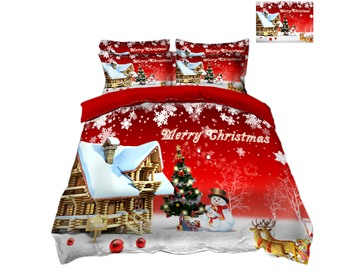 Snowman and Reindeer Printed Snow 3D 4-Piece Christmas Bedding Sets/Duvet Covers