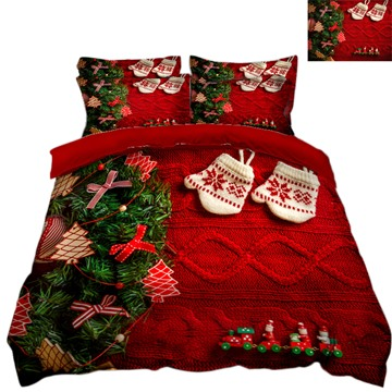 Snowflake Printed 3D 4-Piece Christmas Bedding Sets Duvet Covers Colorfast Wear-resistant Endurable Skin-friendly All-Season Ultra-soft Microfiber No-fading